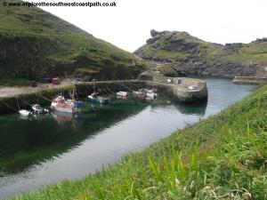 View down to Boscastle harbour